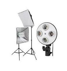 3 x SLH4 Komplet Begynder pakke - Videolys m stativ 280cm, lampehoved, softboks 12 x 125watt lavenergi pærer