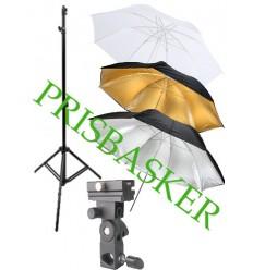 Strobist tilbehørspakke - Stativ (210cm), paraply og paraplyholder 0