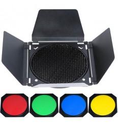 Barndoor med bicelle og 4 farvefiltre til Godox keylight reflektor