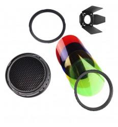 Barndoor med bicelle og 4 farvefiltre til AD400pro keylight reflektor