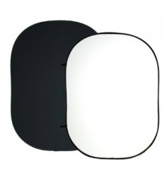 Foldbar Baggrund - Hvid/Sort 150 x 200cm, Kraftigt 2 Lags-Stof 0