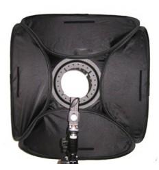 Softboks til strobist-håndflash 40 x 40 cm m diffuser og beslag t stativ, foldbar og i kraftig stoftaske