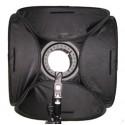 Softboks til strobist-håndflash 40 x 40 cm m diffuser og beslag t stativ, foldbar og i kraftig stoftaske 0