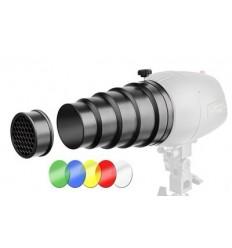 Snoot med bicelle og 4 farvefiltre - Til små flashlamper 0