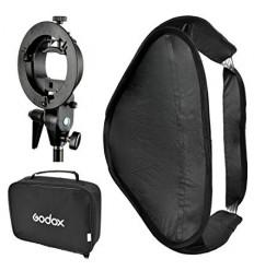 Godox softboks til strobist-håndflash 50x50cm m dobbelt diffuser og beslag t stativ, foldbar+speedring til bowens s-bajonet