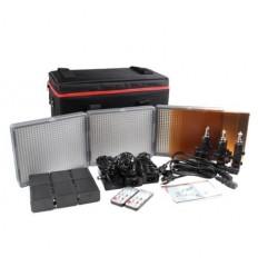 Aputure Amaran 672 Kit, 3 lamper - Video LED sæt - CRI95+ Batteri og 220volt, m taske, fjernbetjening, knækled, lader+ 6 stk 6