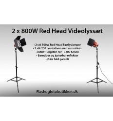 BOLING 800 Watt Red Head Videolampe sæt m. 2 lamper (Nye stærkere pærer - kører i ugevis)