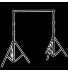 Transportabelt baggrundsstativ 120-305cm bredde x 280 cm høj sort, Teleskop udtrækkelig tværlægger, M kraftig taske 0