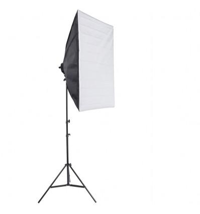 SLH4 Komplet Begynder pakke - Videolys m stativ 280cm, lampehoved, softboks 4 x 125watt lavenergi pærer 0