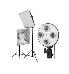 Videosæt m 2 stor softbokse m 4 pærer, stativer, videolamper