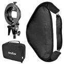 Godox softboks til strobist-håndflash 80x80cm m dobbelt diffuser og beslag t stativ, foldbar+speedring til bowens s-bajonet 1